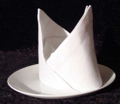 Bishop's Hat napkin folding technique