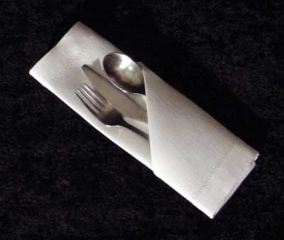 Folding Paper Napkins with Silverware