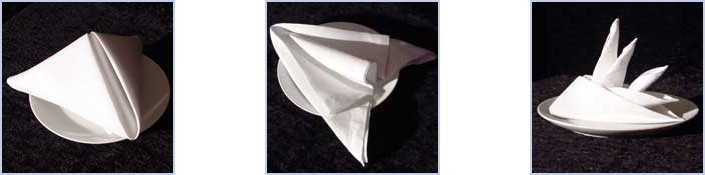 How To Make Table Napkin Designs napkin folding techniques folding napkinseasy Our First Folds Are The Pyramid The Arrow And The Bird Of Paradise Click An Image For Detailed Instructions